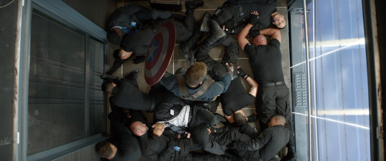 Captain America in Elevator with Bad guys on ground