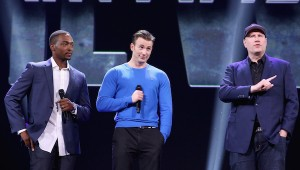 """ANAHEIM, CA - AUGUST 15:  (L-R) Actors Anthony Mackie, Chris Evans and Producer Kevin Feige of CAPTAIN AMERICA: CIVIL WAR took part today in """"Worlds, Galaxies, and Universes: Live Action at The Walt Disney Studios"""" presentation at Disney's D23 EXPO 2015 in Anaheim, Calif.  (Photo by Jesse Grant/Getty Images for Disney) *** Local Caption *** Anthony Mackie; Chris Evans; Kevin Feige"""