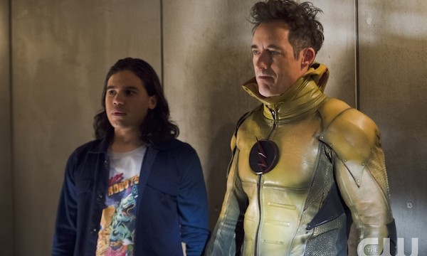"The Flash -- ""Gorilla Warfare"" -- Image FLA207B_0178b.jpg -- Pictured (L-R): Carlos Valdes as Cisco Ramon and Tom Cavanagh as Harrison Wells -- Photo: Cate Cameron/The CW -- © 2015 The CW Network, LLC. All rights reserved."